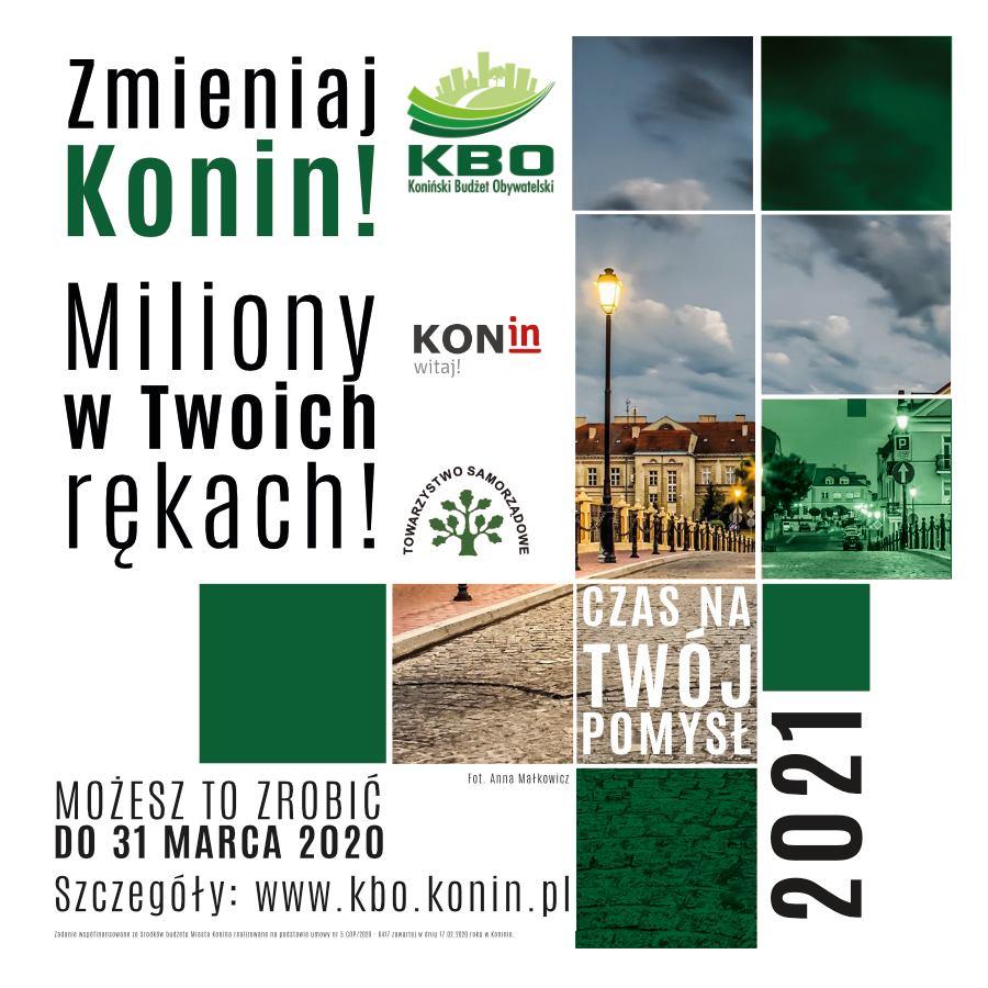 Plakat dotyczący Konińskiego Budżetu Obywatelskiego - wnioski do 31 marca 2020 roku