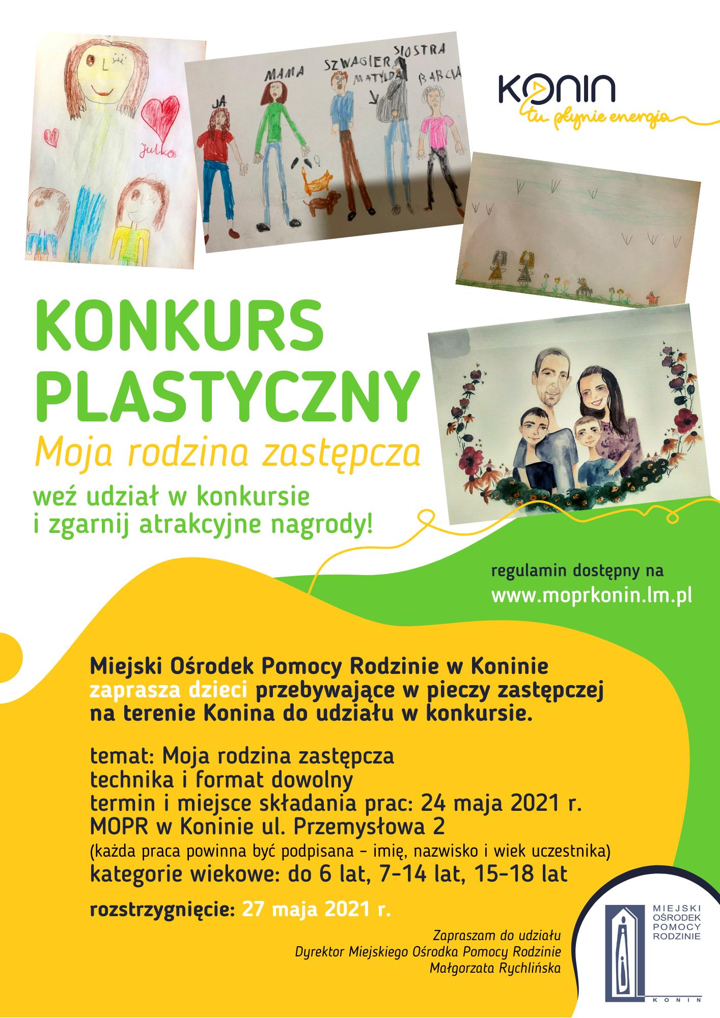 Plakat ogłaszający konkurs plastyczny dla dzieci przebywających w pieczy zastępczej na temat Moja rodzina zastępcza.